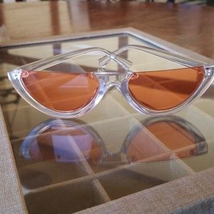 Womens Orange half Sunglasses